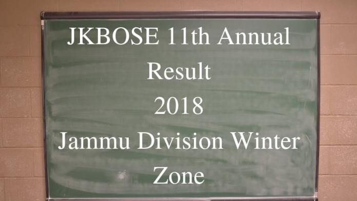 JKBOSE 11th Annual Result 2018 Jammu Division Winter Zone