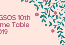 CGSOS 10th Time Table 2019