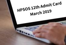 HPSOS 12th Admit Card March 2019