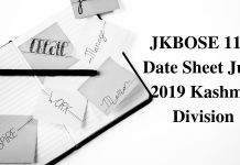JKBOSE 11th Date Sheet June 2019 Kashmir Division