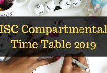 ISC Compartmental Time Table 2019