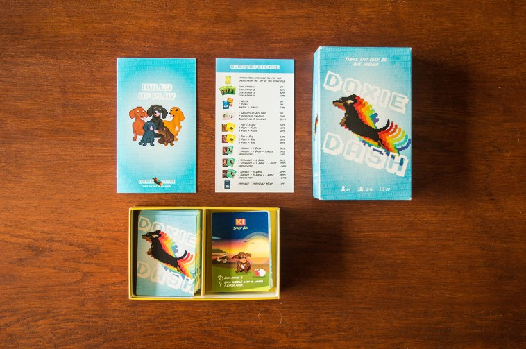 Box contents of Doxie Dash (prototype)