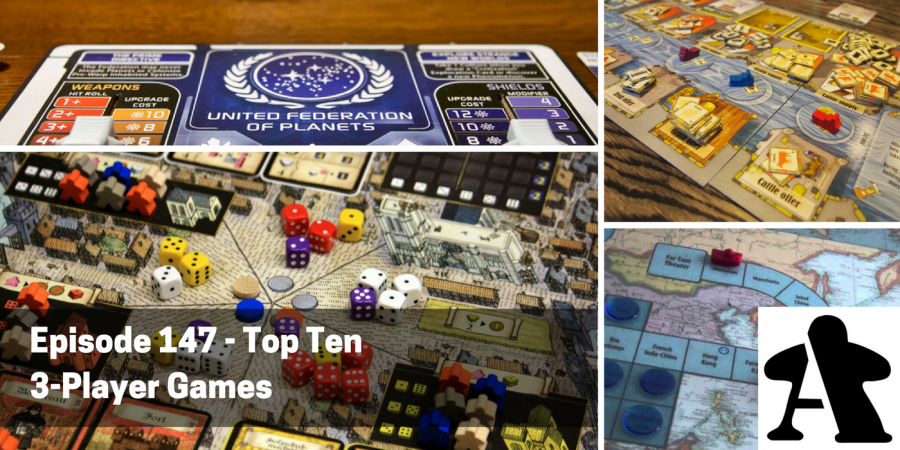 Episode 147   Top Ten 3 Player Games   Board Gamers Anonymous Chris and Anthony share their top ten 3 player games this week  diving into  the board games that play best  or only  with three players