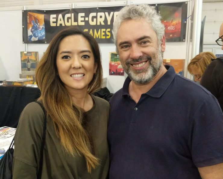 Monique from Before You Play meeting Vital Lacerda at Essen Spiel 2019