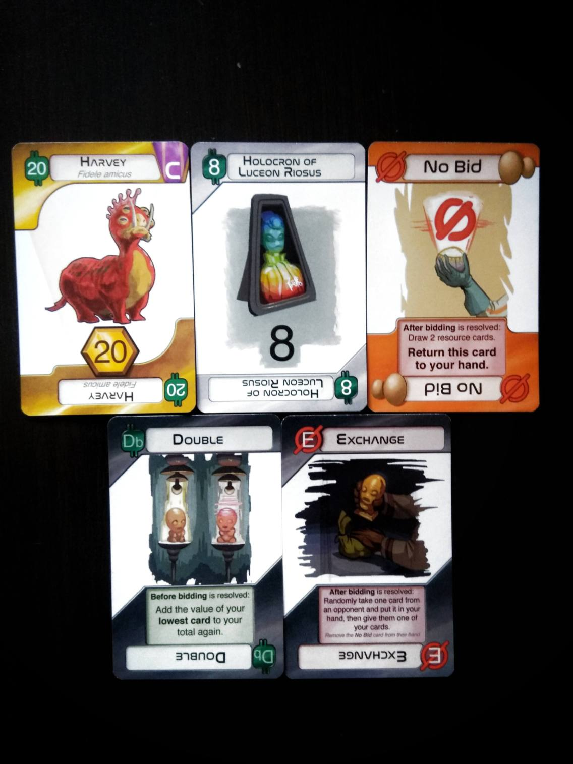 Xenofera, Value Card, No Bid, Actions (Left to Right)