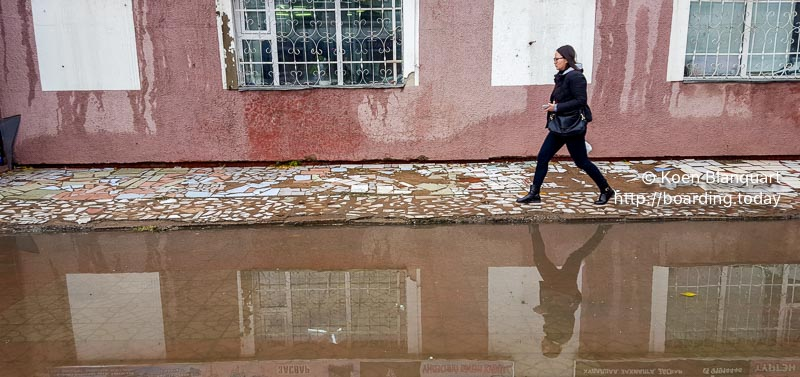 The streets in UlaanBaatar / Ulan Bator are transformed in rivers after heavy rain.