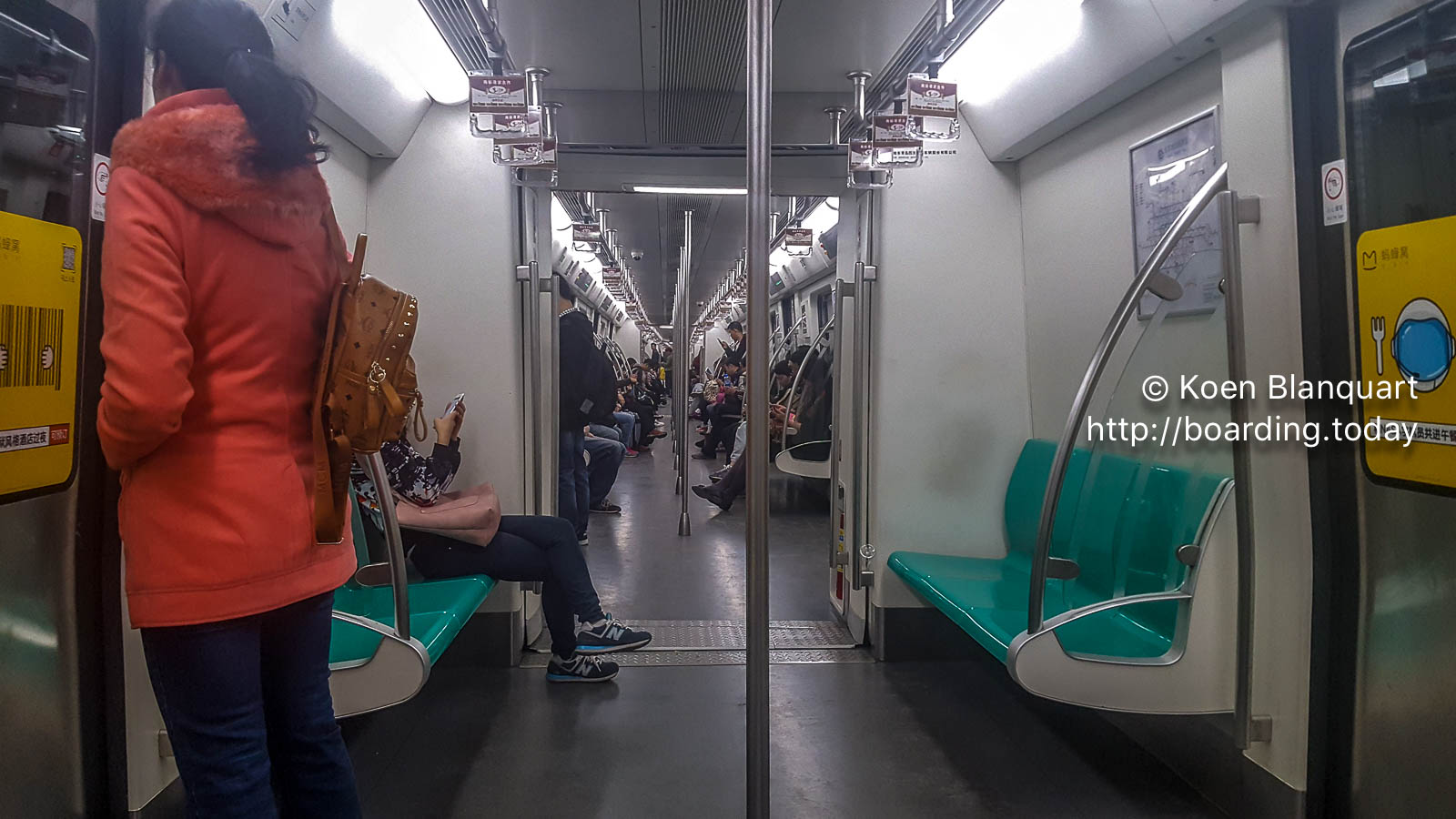 A rare image of a non-crowded Beijing Subway|Metro train