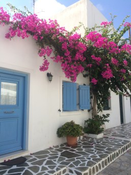 Bougainvillea flower-covered house in Antiparos