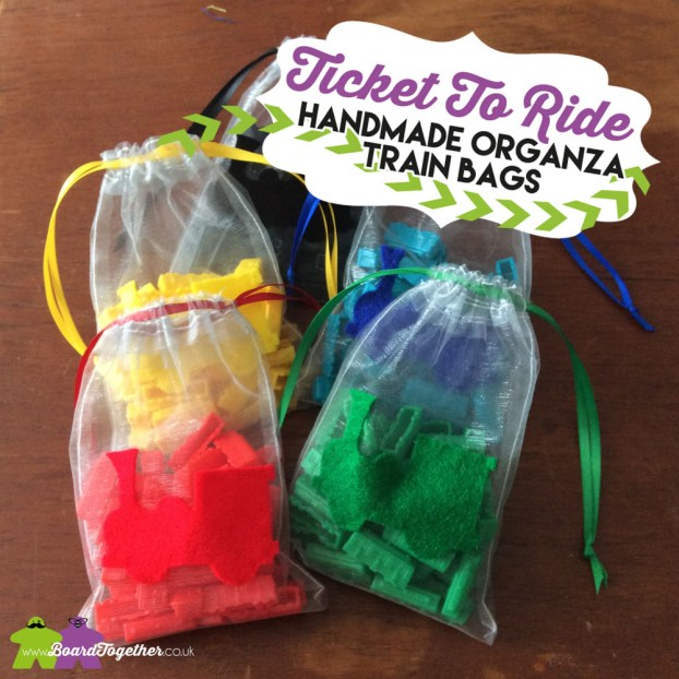 Handmade Ticket To Ride Organza Drawstring Bags