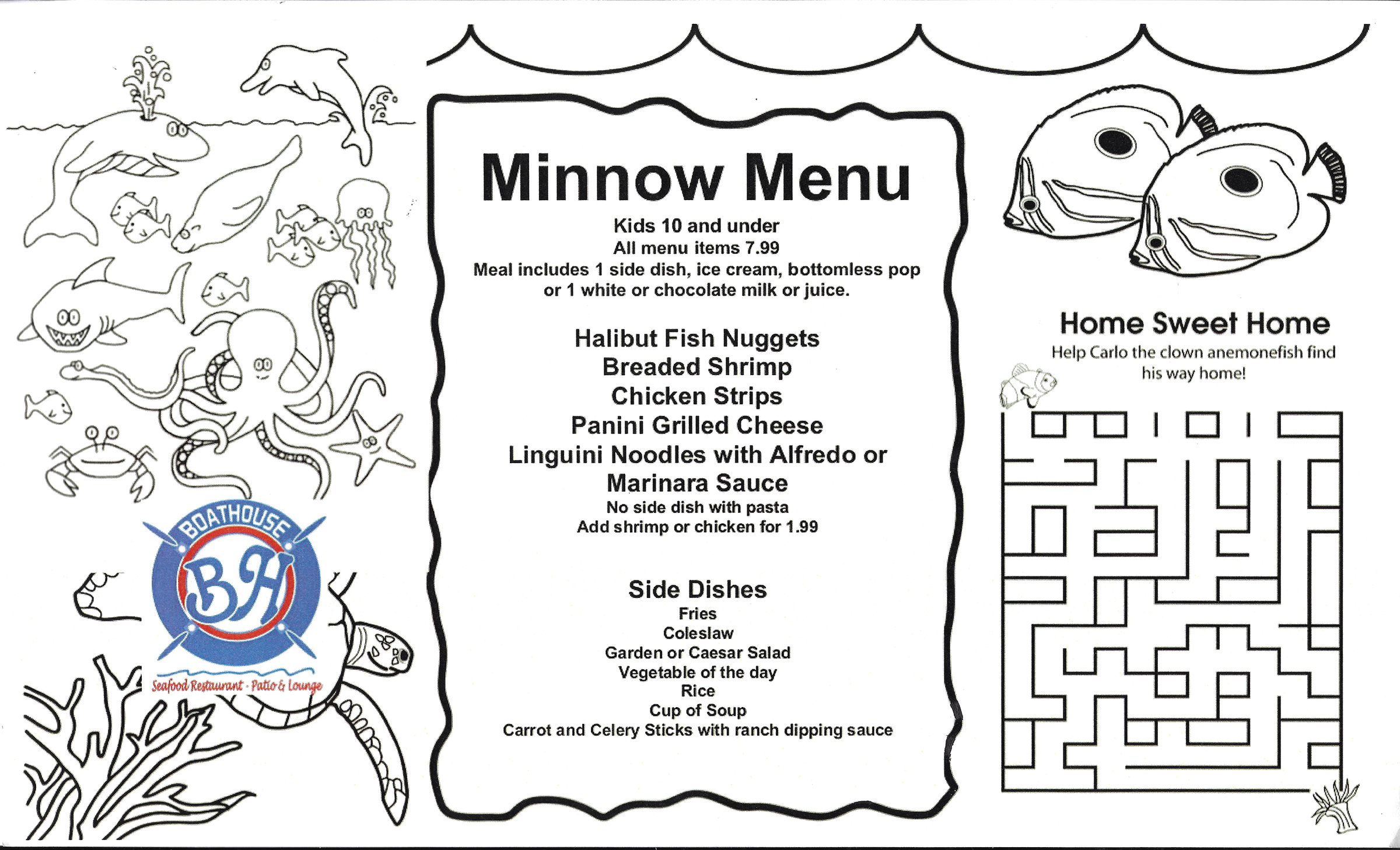MINNOW MENU The Boathouse Seafood Restaurant