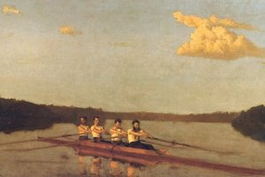 """Oarsmen on the Schuylkill"" (aka ""The Pennsylvania Barge Club Four"") by Thomas Eakins (c. 1874)."