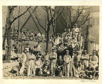 John B. Kelly, 23, with hat in hand, with brother's construction company. Courtesy John B. Kelly III.