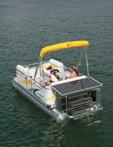 Apex Marine's Paddle Qwest offers an optional electric motor that can be powered in part by the sun.
