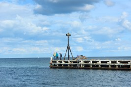signal jetty marina water summer kerteminde denmark