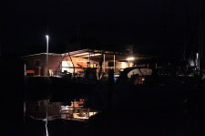 marina fishermen coop dark black night lights denmark lundeborg