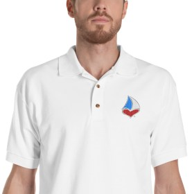 For The LUV of Sailing Tri-Color Sailboat Heart Polo Shirt (Men's)