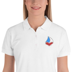 For The LUV of Sailing Embroidered Tri-Color Sailboat Heart Women's Polo Shirt (White)