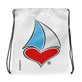 For the LUV of Sailing Drawstring bag – white