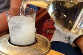 At the Four Seasons Sultanahmet, a beautiful presentation of raki, the local anise liquor, to which water is added.