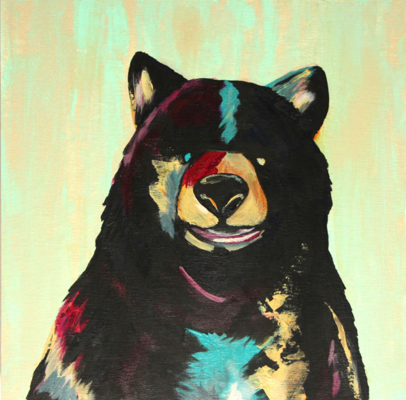 contemporary abstracted painting of a bear's face