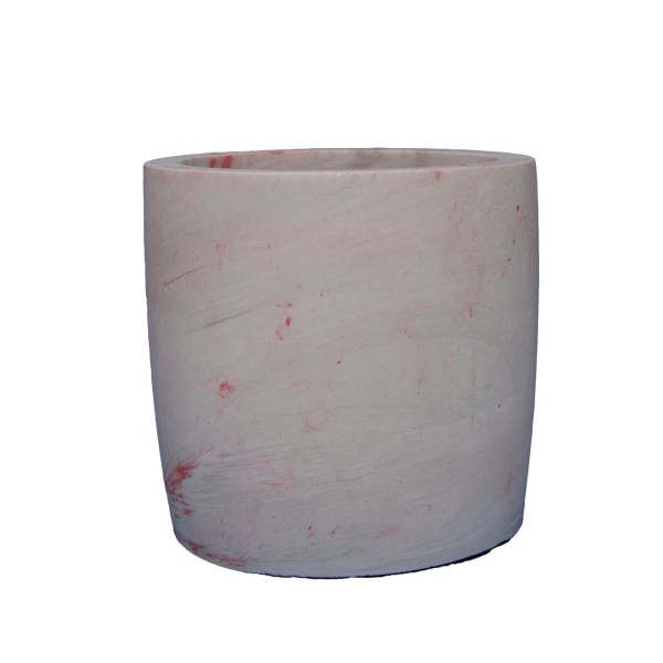 small grey jesmonite pot with red detail for storage or plants