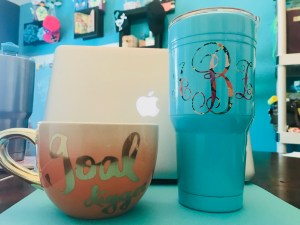 Vinyl lettering on cups