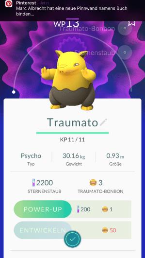 Der erste etwas größere Pokémon
