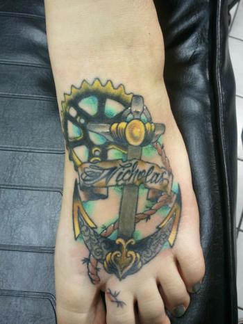 Custom foot anchor tattoo by Bobby Rotten
