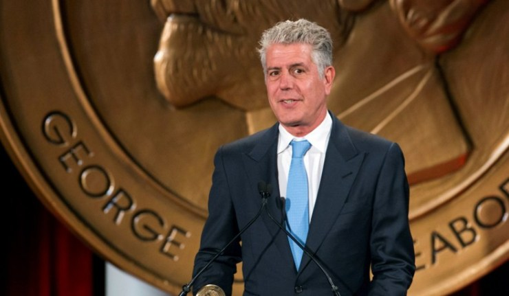 """FILE PHOTO: Television personality Anthony Bourdain speaks about the show """"Parts Unknown"""" after the show won a Peabody Award in New York"""