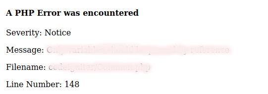 codeigniter bir php hatasıyla karşılaşıldı
