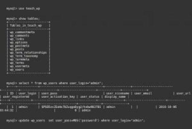 Redefinir WordPress senha de administrador do banco de dados MySQL