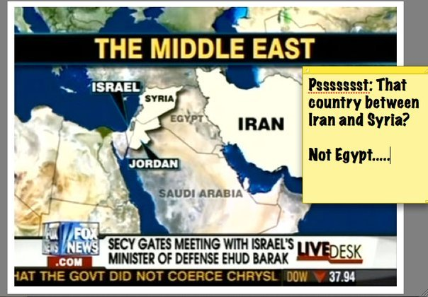 A Fox News map mistakenly labels Iraq as Egypt