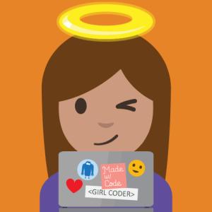 White Hat Hacker Girl Coder Emoji for #WorldEmojiDay