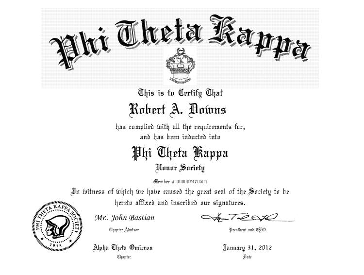 Phi Theta Kappa membership certificate for Robert Downs.
