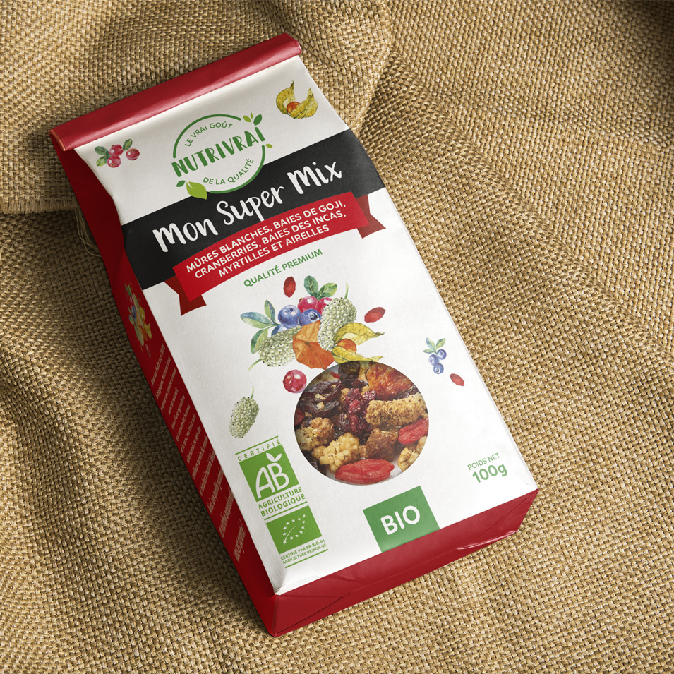 NUTRIVRAI, fruits secs bio en sachets et en barre - Design global -Bob & Simone