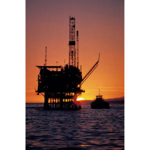 Decommissioning Offshore Oil Platform Holly at Sunset