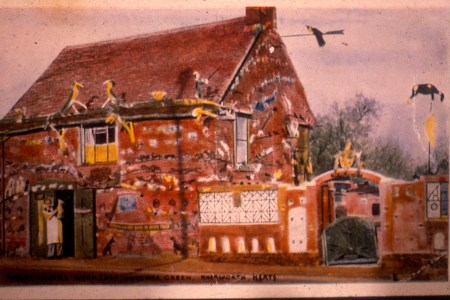 Postcard sold of the Woodcarvers house at Woolmer Green
