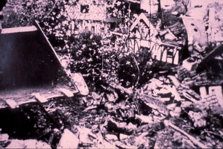 Local press image of the destruction of the Woodcarvers garden. Woolmer Green.