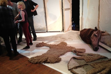 Mark, Mairi and Jonny after a show, with Joanne's versions of the woven costumes laid out