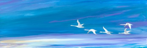 """Birds of a Feather"": 36"" x 12"" acrylic original - $250"