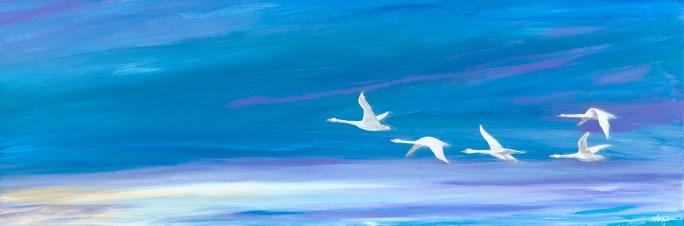 """Birds of a Feather"": 36"" x 12"" acrylic original"
