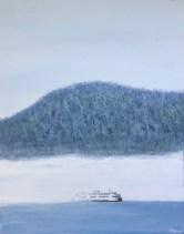 """""""Island Fog"""": 12"""" x 16"""" acrylic original"""