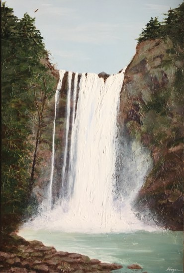"""Soaring Over the Falls"": 20"" x 30"" acrylic original"