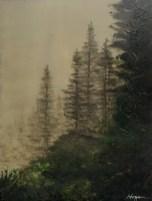 """""""Forest Fog"""": 10"""" x 12"""" acrylic original - $225"""