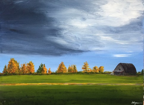 """Threatening Skies"": 24"" x 18"" acrylic original - $325"