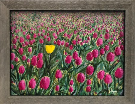 """""""Dare to be Different"""": 18"""" x 14"""" acrylic original with frame - $225"""
