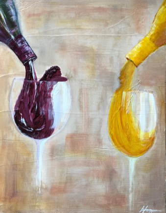 """Red, White or Blend?"": 11"" x 16"" acrylic original - $175"