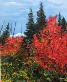 """Autumn Fire"": 30"" x 36"" acrylic original"