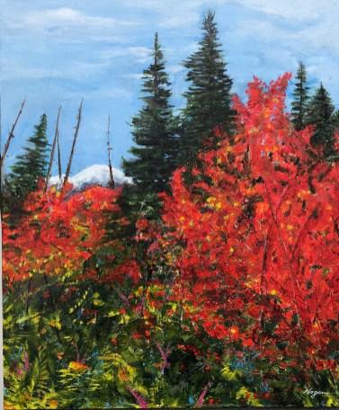 """Autumn Fire"": 30"" x 36"" acrylic original - $275"