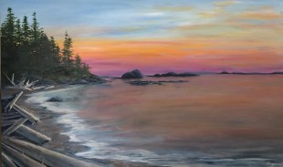 """Driftwood Beach"": 36″ x 48″ acrylic original"